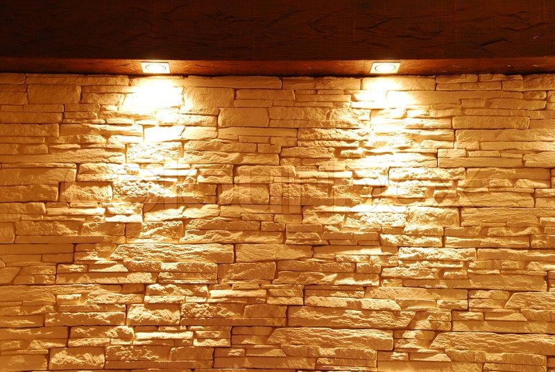 Unshaped stone wall with spot lights stock photo colourbox aloadofball Image collections