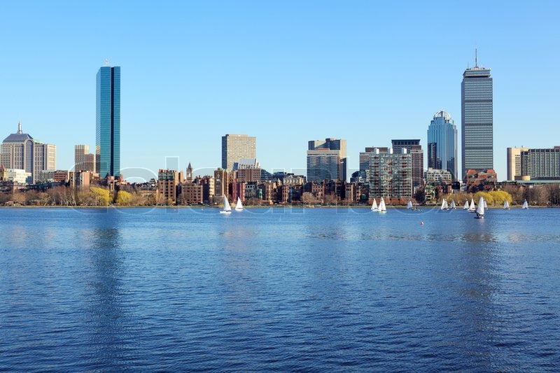Stock image of 'Boston skyline from Cambridge over the Charles River, Massachusetts, USA'