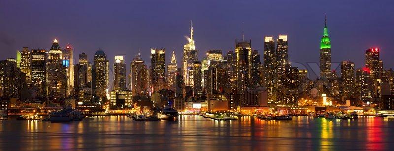 New York City Midtown Skyline Panorama At Night Over