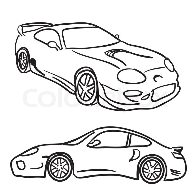 Expensive Car Coloring Pages : Sports car sketches stock vector colourbox