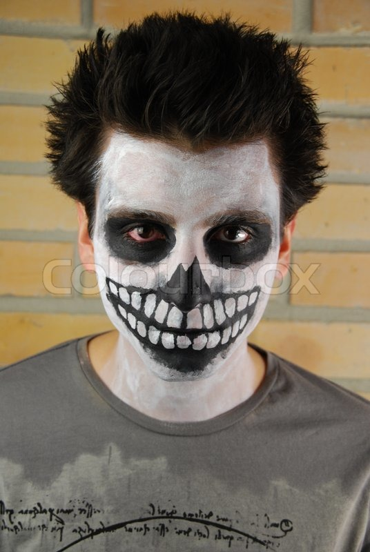 portrait of a creepy skeleton guy carnival face painting - Skeleton Face Paint For Halloween