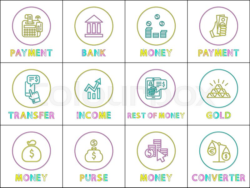 Payment And Bank Money Transfer Income Gold Purse With Coins Converter Icons Set Transactions Services Isolated On Vector Ilration