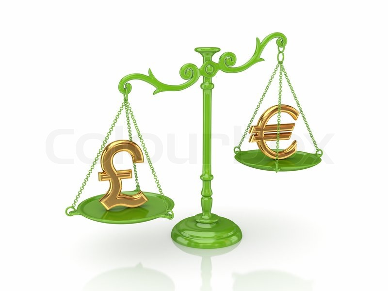 Golden euro og britiske pund tegn på en skalaer | stock foto | Colourbox