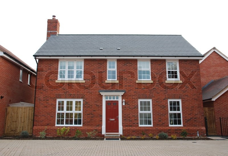 Detached Red Brick House Stock Photo Colourbox