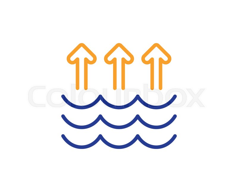 Evaporation line icon  Global warming     | Stock vector