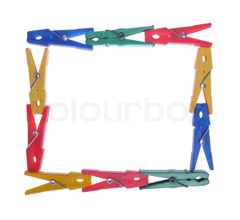 Clothes pegs frame | Stock Photo | Colourbox