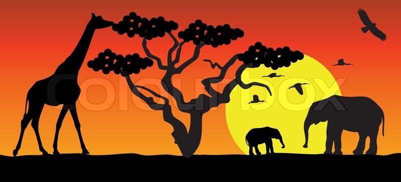 Vector giraffe and elephants in africa | Stock Vector ...