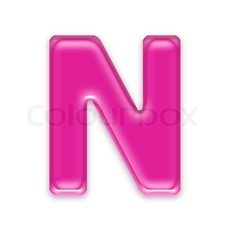 Pink jelly letter isolated on white background - N   Stock ...