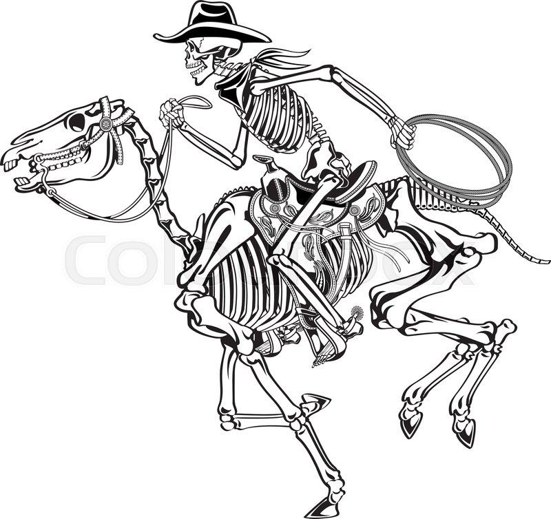 92875b1be7aef Cowboy skeleton riding a skeleton ...