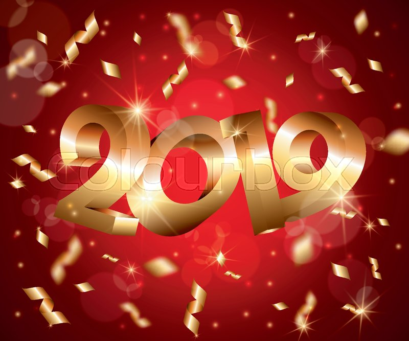 new year vector abstract 3d background with golden 3d numbers 2019lens flaresconfettiglowing starslight flasheshighlight circlesgreeting cardweb