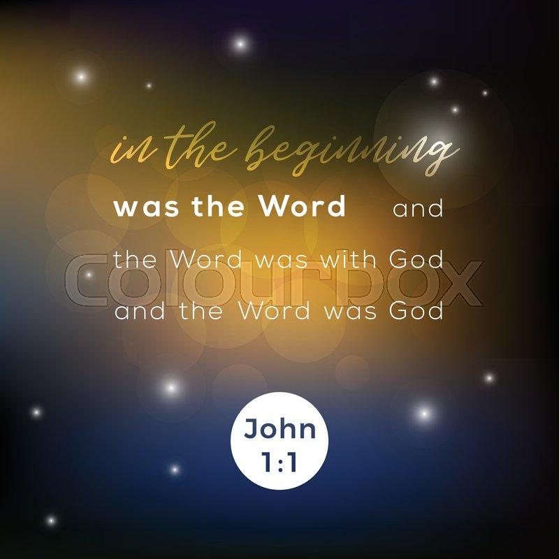 Biblical scripture verse from john 1:1     | Stock vector | Colourbox