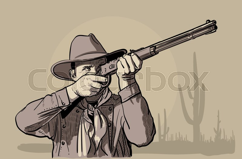 b8f2f740dba Man with cowboy hat and shirt and scarf shoots a rifle. Western. Digital  Sketch Hand Drawing Vector. Illustration