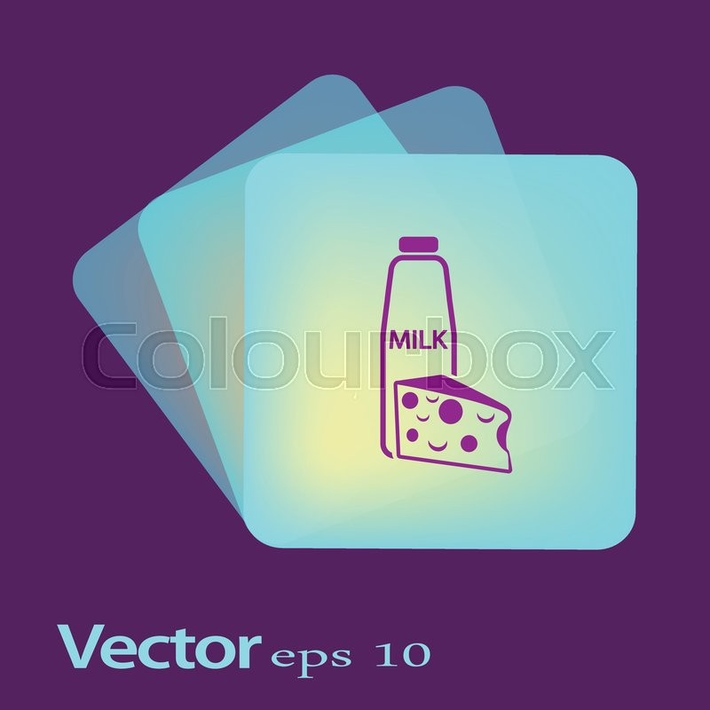 Flat icon  Milk and cheese  Dairy  | Stock vector | Colourbox