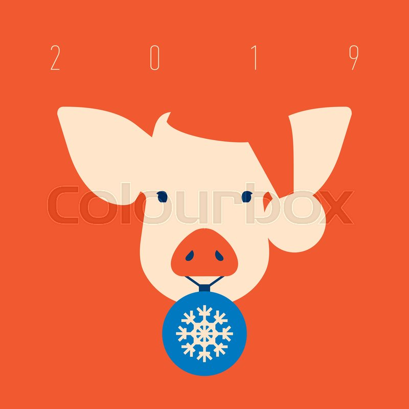 55d4edf9d8262 Pig icon with hat of Santa Claus with ...
