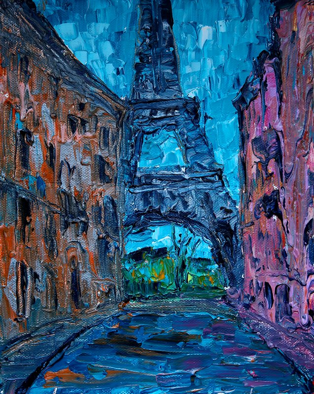 Art painting of Paris street with Eiffel Tower, stock photo