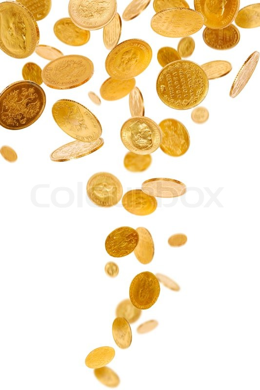 falling gold coins stock photo colourbox
