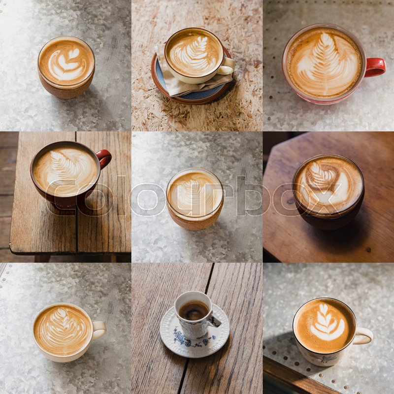 Image montage of nine cups of coffee. There are different types of coffee, stock photo