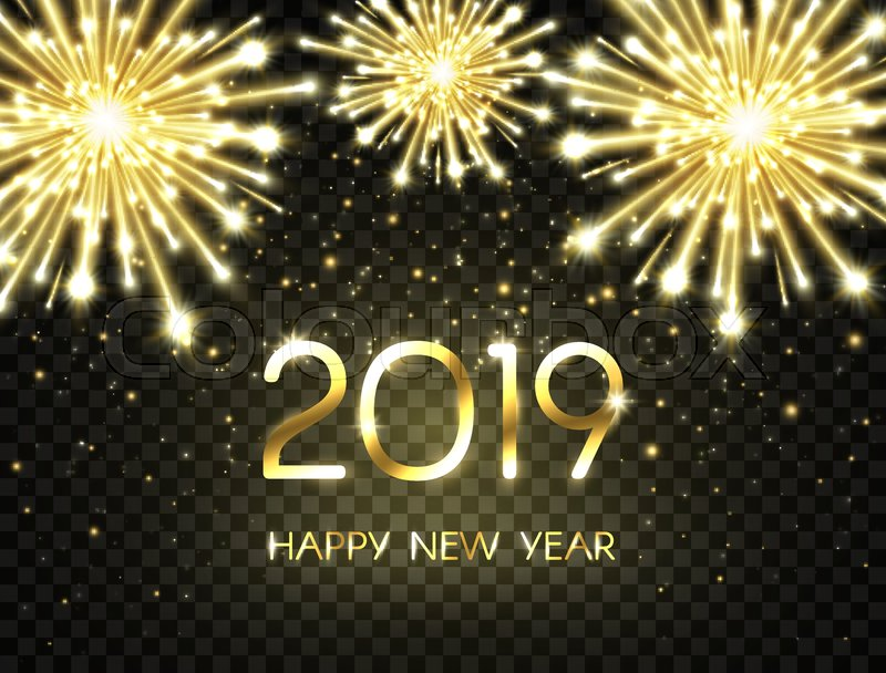 2019 happy new year background with glitter fireworks sparkles and stars happy holiday backdrop with bright golden text and numbers
