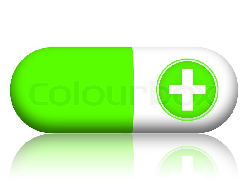Green Pill With Medical Cross Illustration Isolated On White