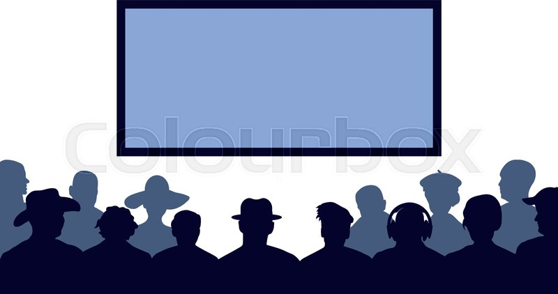 Group Of People Watching Tv Screen Stock Vector Colourbox