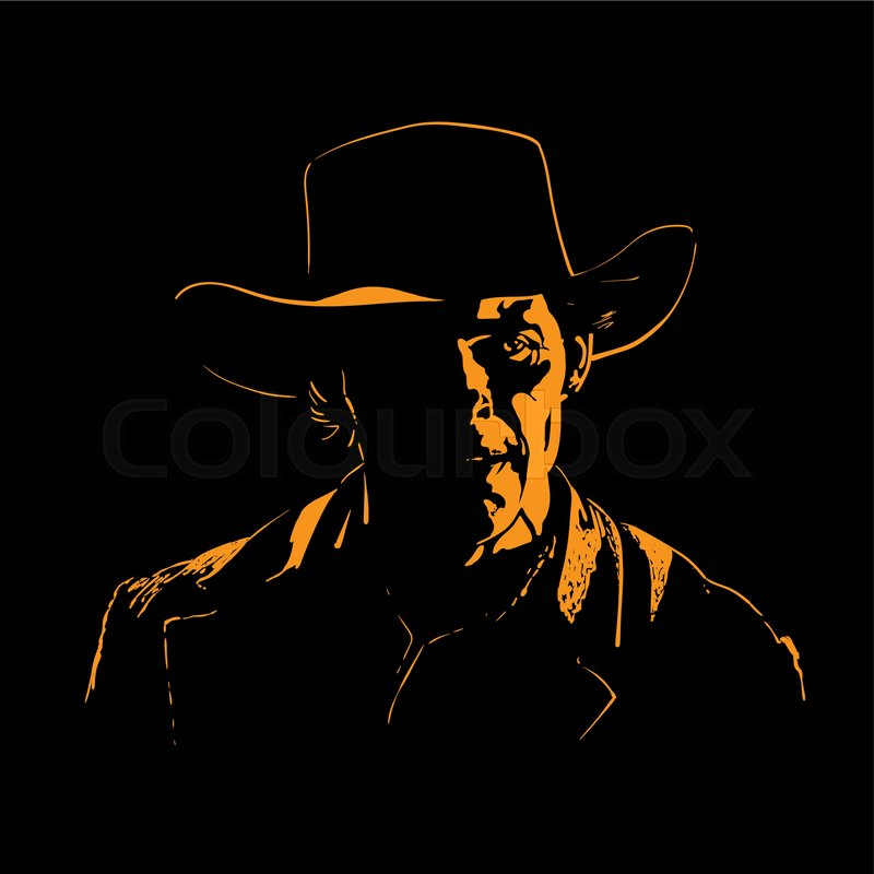 f334440a839 Man with cowboy hat silhouette in ...