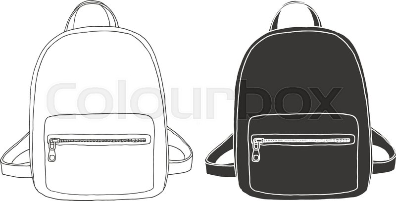 f9659540a8d Sketch of a rucksack. Backpack isolated on white background. Vector  illustration of a sketch style.   Stock Vector   Colourbox