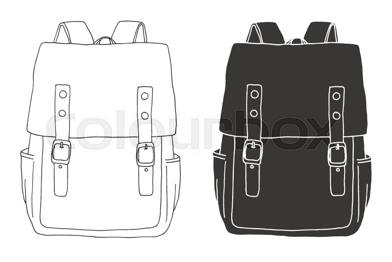 a3d797f0729 Sketch of a rucksack. Backpack isolated on white background. Vector  illustration of a sketch style, vector