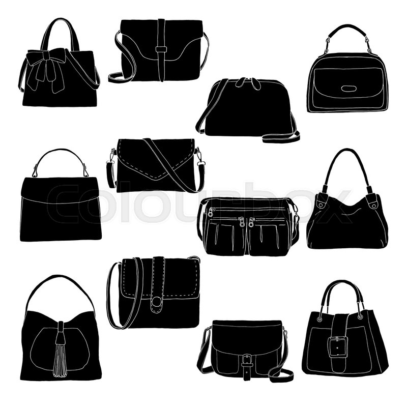 649632cdd Set of different bags, men, women and ... | Stock vector | Colourbox