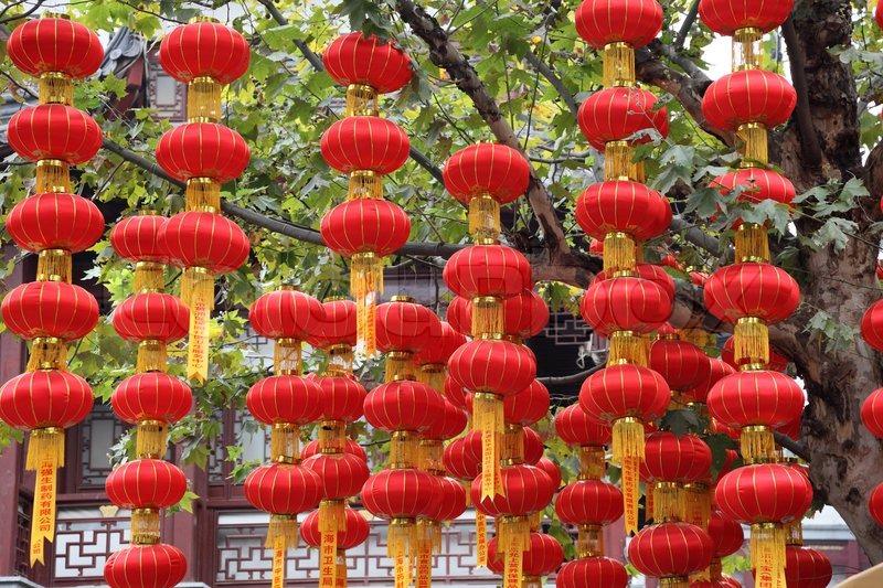Red Chinese Paper Lantern In Shanghai China