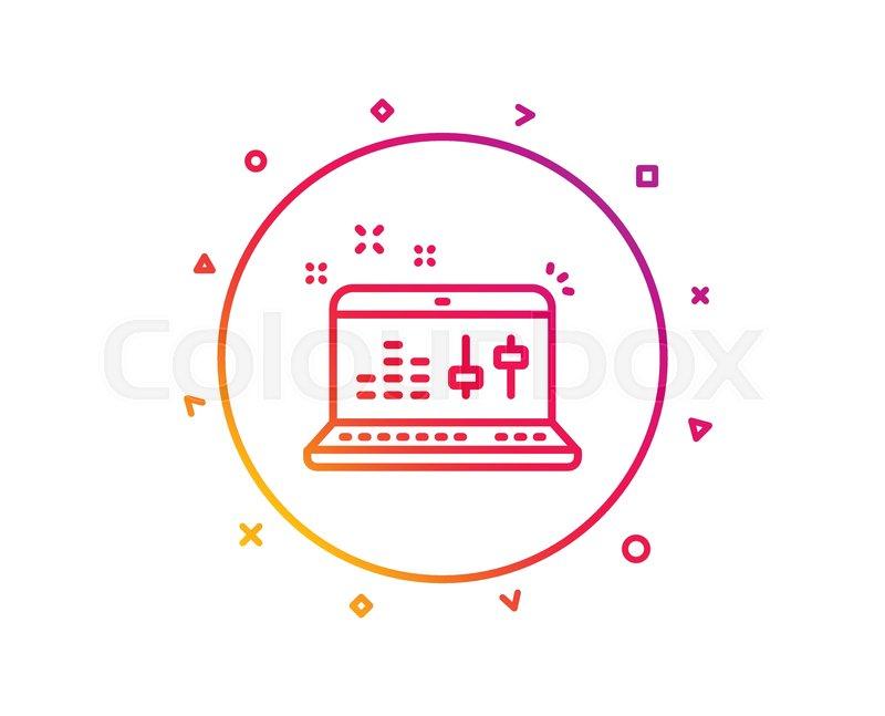 Sound check line icon  DJ controller     | Stock vector