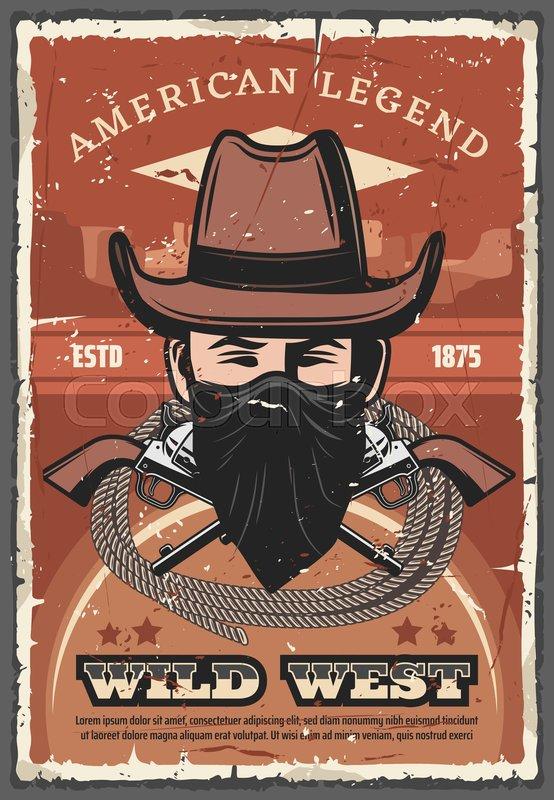 bb865391b24 Wild West vector retro poster of ...