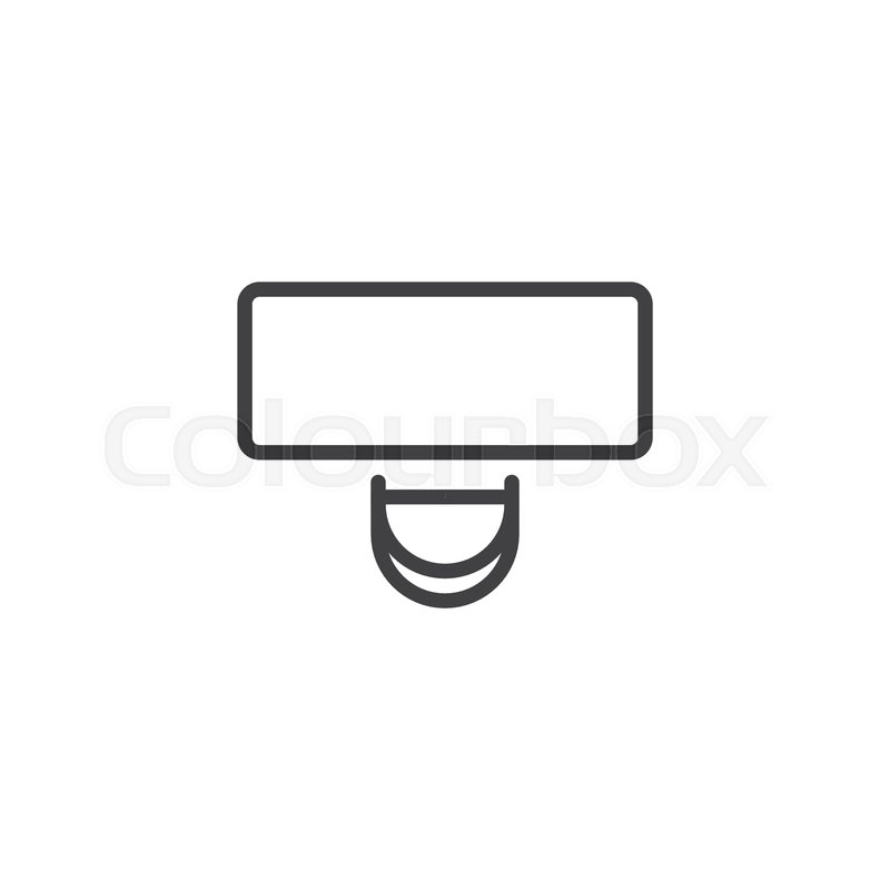 Desk and chair top view outline icon. ... | Stock vector ...