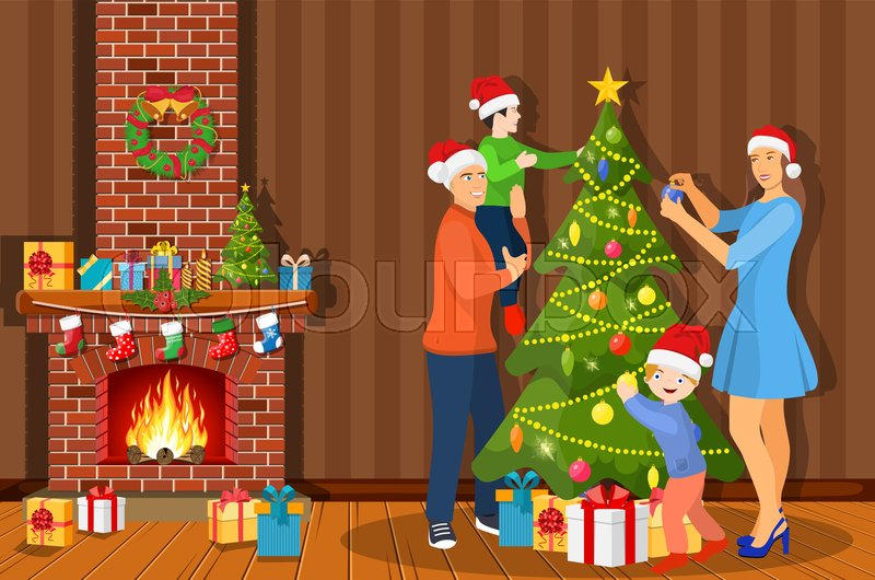 Family Decorating Christmas Tree In Stock Vector Colourbox
