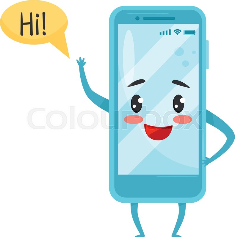 Blue Humanized Smartphone With Funny Stock Vector Colourbox