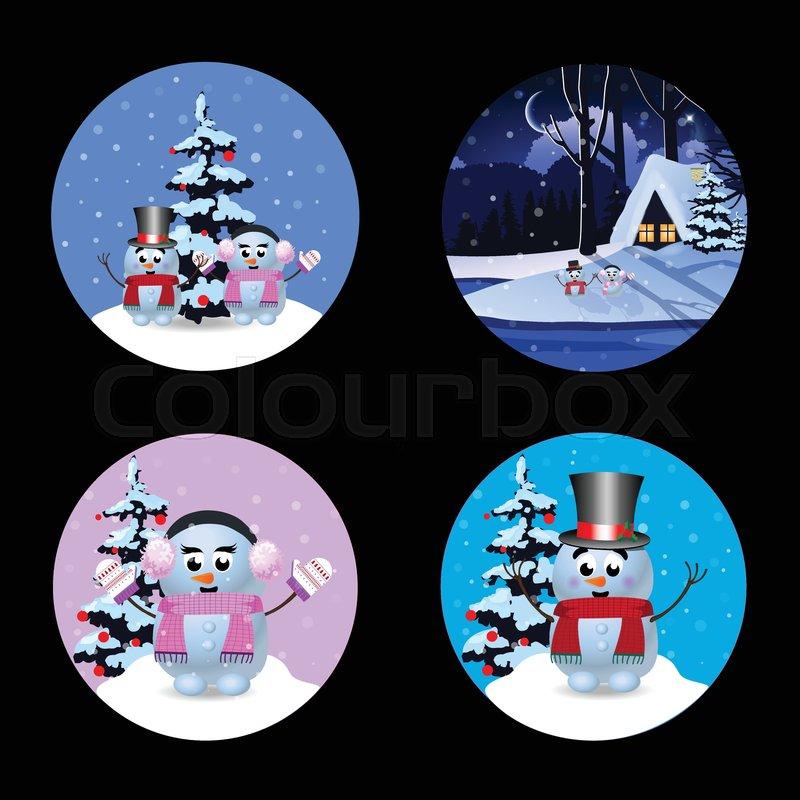 christmas new year round signs set with cute cartoon characters snowman winter house and snow isolated on black background vector illustration icons
