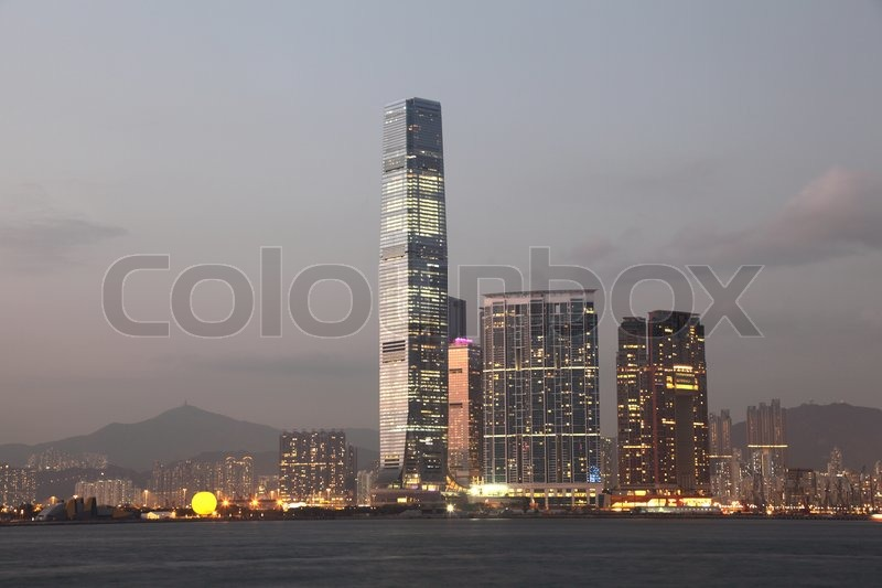 International Commerce Centre and the Union Square Skyscrapers in Hong Kong, stock photo