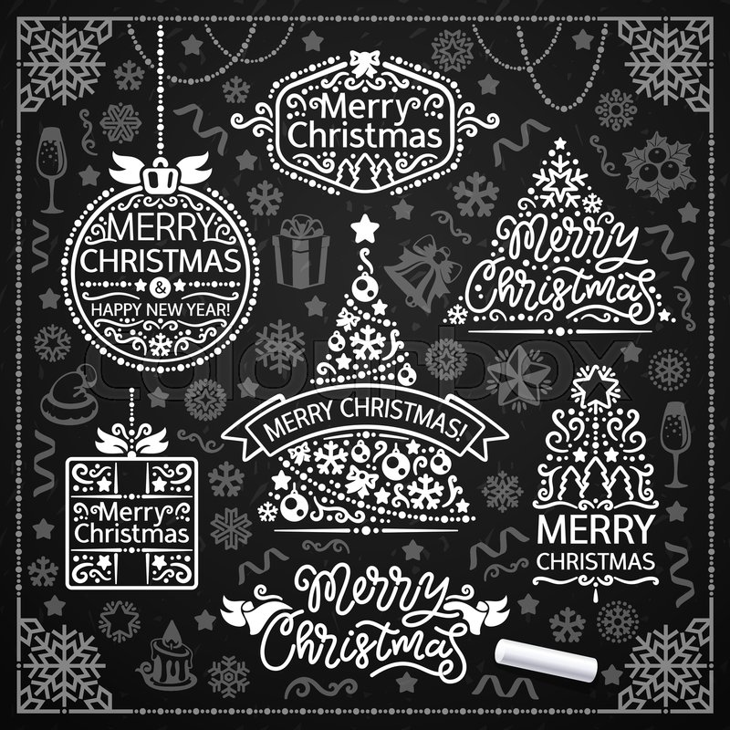Merry Christmas Design With Chalk Word Stock Vector