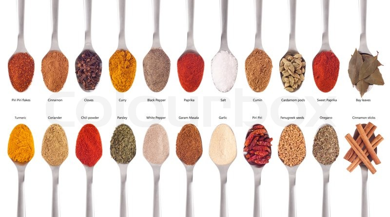 Spices Collection On Spoons Stock Photo Colourbox