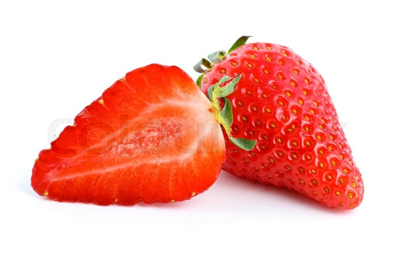 Stock image of 'Ripe red strawberry Whole and half'