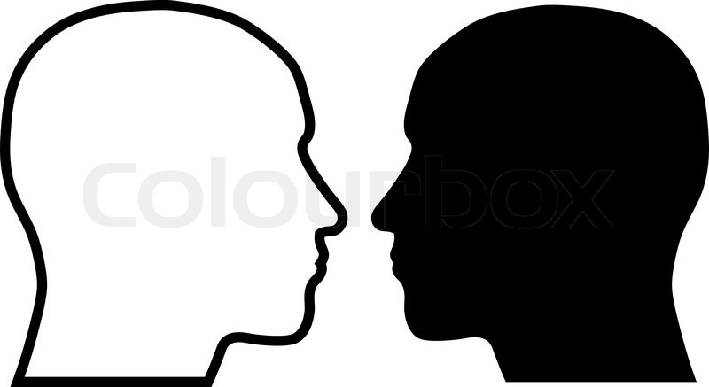 human head silhouettes stock vector colourbox rh colourbox com face profile silhouette vector face silhouette vector download