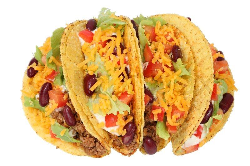 Delicious Mexican tacos isolated over white background ...