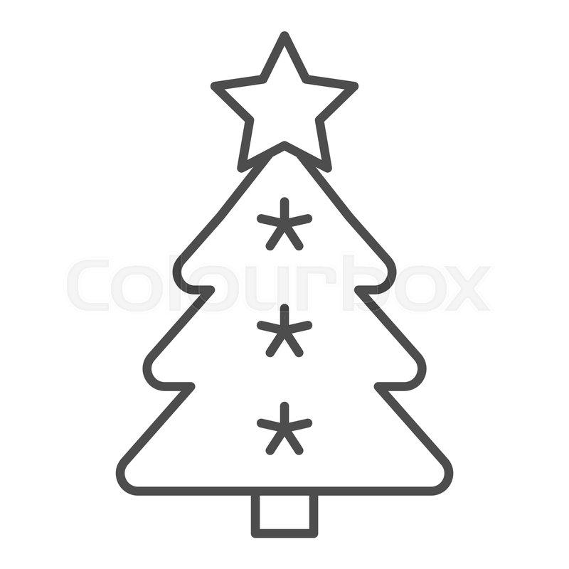 Christmas Tree Thin Line Icon Stock Vector Colourbox