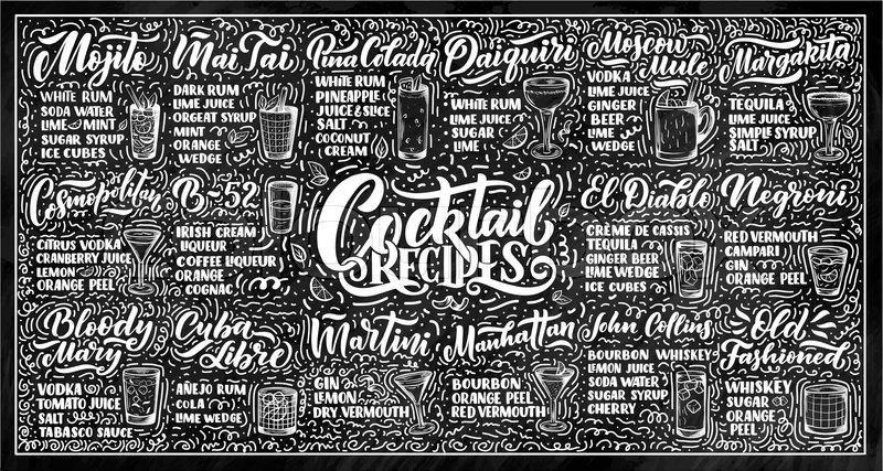 Lettering set of cocktails recipes.