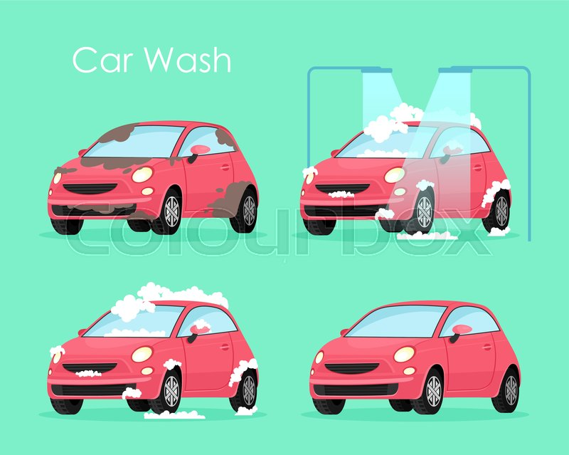 Vector Illustration Of Car Wash Stock Vector Colourbox