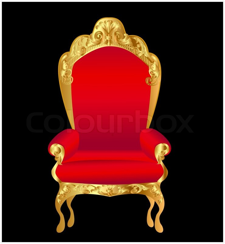 Royal king chair - Old Chair Red With Gold Ornament On Black Stock Vector