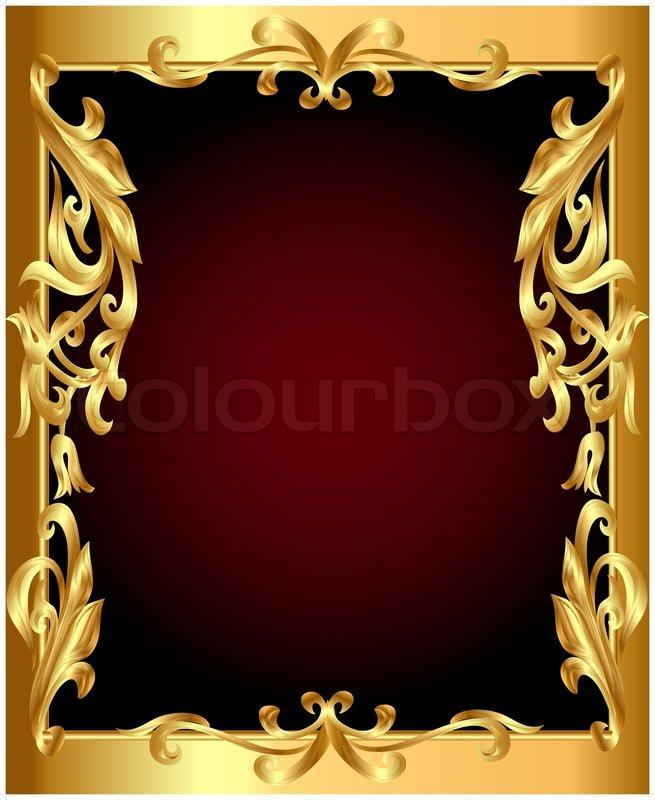 Golden frame with golden vegetable ornament | Stock Vector | Colourbox