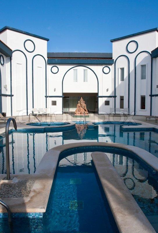 Resort spa pool yard, stock photo