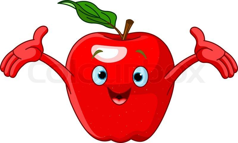 cheerful cartoon apple character stock vector colourbox rh colourbox com apple cartoon images black and white apple cartoon images free