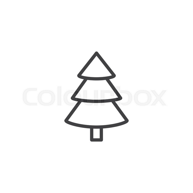 Christmas Tree Outline.Spruce Christmas Tree Outline Icon Stock Vector