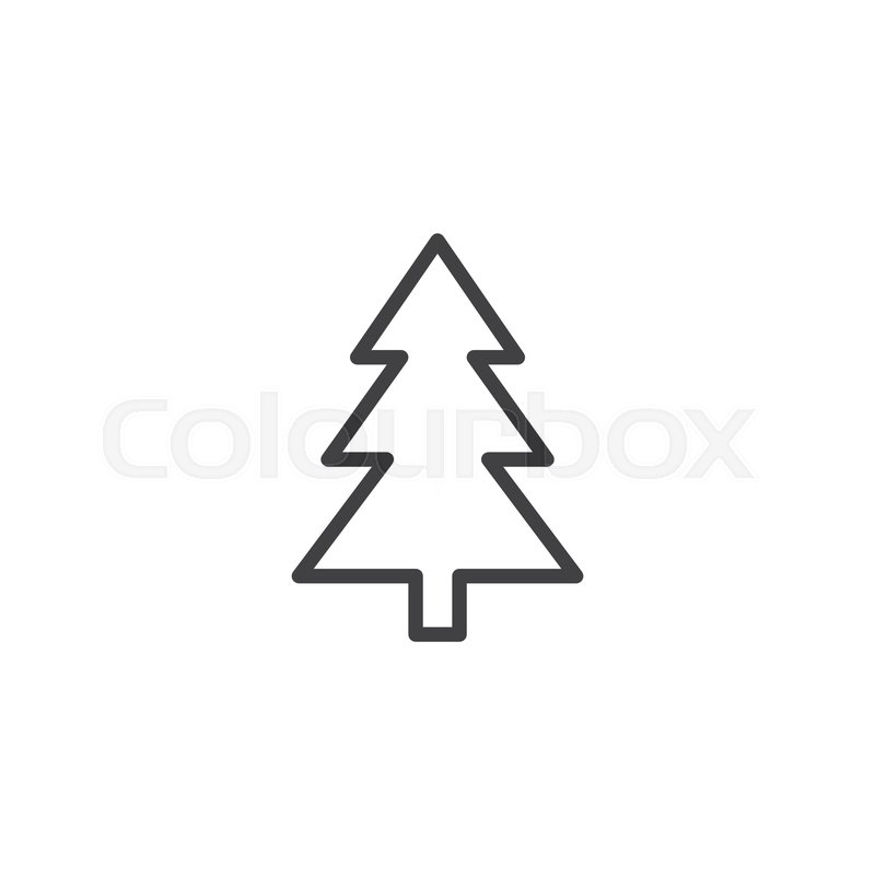 Xmas Tree Outline Icon Linear Style Stock Vector Colourbox